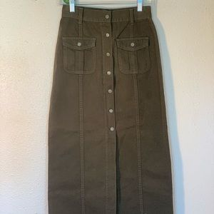 Army Green Button Up Utility Maxi Skirt • Vintage•